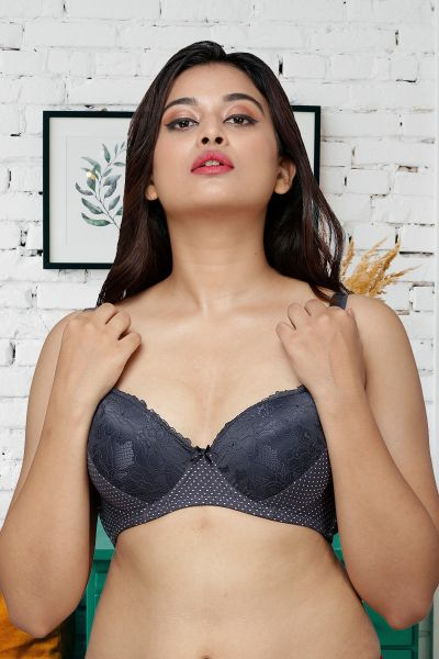 Ellixy Lightly Padded Balconette Bra With Lace Detailing