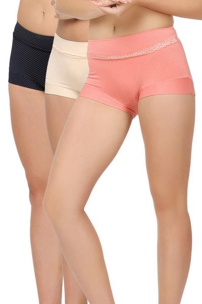 Boyshort Panty With White Polka Dots And Lace Pack of 3