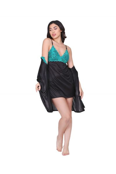 ELLIXY Chemise & Robe with Teal Lace Style Solid Colored Set Satin-M