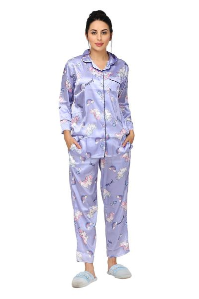 Ellixy Satin Printed Night Suit For Women