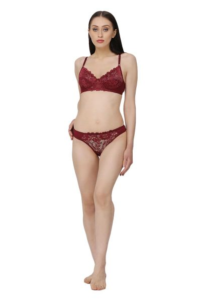 Ellixy Bra & Panty Set With Lace Highlight Detailing