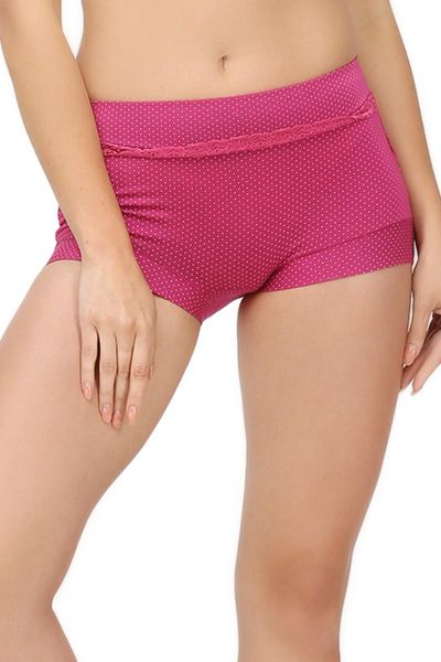Boyshort Panty With White Polka Dots And Lace